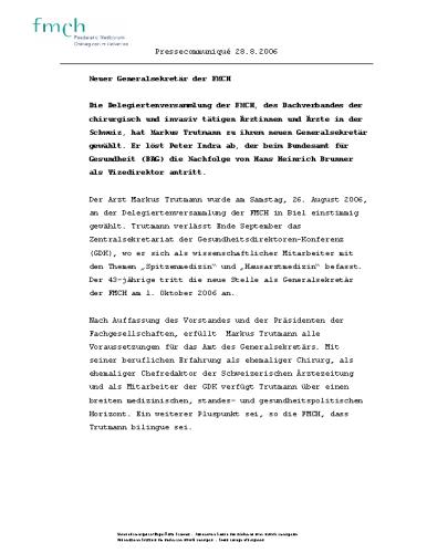 FMCH – Pressetext Neuwahl Generalsekretär