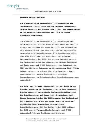 FMCH – Pressetext SGGG