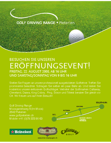Golf Driving Range Pieterlen – Inserat