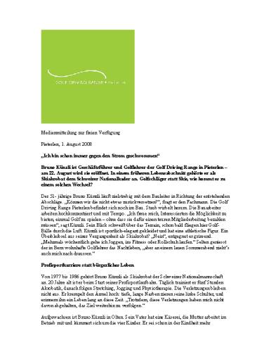 Golf Driving Range Pieterlen – Medienmitteilung Bruno Kuenzli