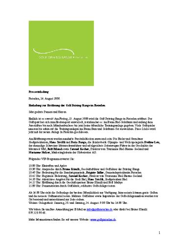 Golf Driving Range Pieterlen – Medienmitteilung Eröffnung