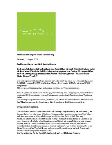 Golf Driving Range Pieterlen – Medienmitteilung Projektinitianten