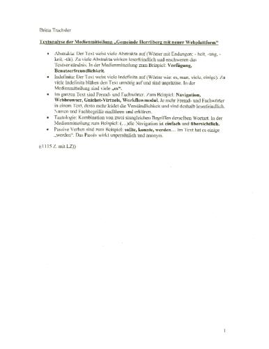 Textanalyse – Gde. Herrliberg Webplattform